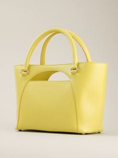 Yellow Leather 'Moon' Tote | Static Multimedia > Gallery