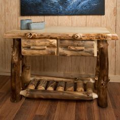 Aspen Log Sofa Table with Drawers