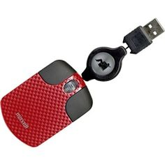 Red Mini Retractable Optical Travel Mouse  Maxell 191034  PRICE DROP!
