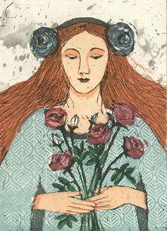Kirsi Neuvonen, Ruusukimppu / Rose Bouquet (2012) Female Painters, Love Painting, Portrait Inspiration, Illustrations And Posters, Rose Bouquet, Natural World, Printmaking, Illustrators, Fairy Tales
