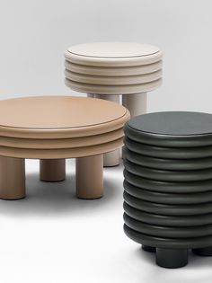 Parisian interior architect and designer Stéphane Parmentier has created a collection of ribbed, leather-wrapped furniture for Italian brand Giobagnara. Repurposed Furniture, Cheap Furniture, Table Furniture, Bedroom Furniture, Furniture Design, Industrial Furniture, Luxury Furniture, Unique Furniture, Furniture Stores