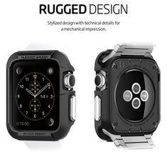 Apple Watch Case, Spigen® [Resilient] Apple Watch Case Impact Protection **NEW** [Rugged Armor] [Black] - [Include 2 Screen Protectors] Ultimate protection from drops and impacts for Apple Watch - Black Smart Watch Apple, Apple Watch 38, Apple Watch 42mm, Apple Watch Series 3, Cool Watches, Watches For Men, Men's Watches, Apple Watch Accessories, Backpacks
