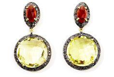 Garnet & Lemon Topaz Drop Earrings from One Kings Lane on shop.CatalogSpree.com, your personal digital mall.