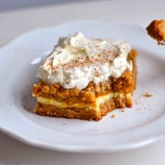 These pumpkin cheesecake crunch bars could be the stars this Thanksgiving! Directions included to either make from scratch or use a cake mix