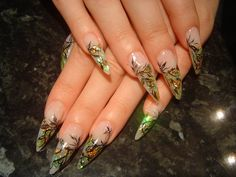 Early Fall Nails – dark branch with green-gold leaves - Nail Art