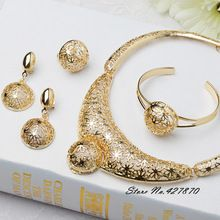 2015 New Arrival African Costume Jewelry Set 18K Gold Plated Fashion Wedding Women Bridal Accessories Necklace Set Gift J034