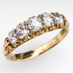 Antique Victorian Diamond Anniversary Band Art Deco Diamond, Vintage Diamond, Diamond Jewelry, Gemstone Jewelry, Gold Jewelry, Fine Jewelry, Jewellery, Antique Jewelry, Vintage Jewelry