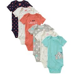 Child of Mine by Carters Newborn Girls' 6 Pack Assorted Bodysuits: Baby Clothing : Walmart.com