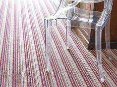 Brockway Portofino Rosso Stripe - photo courtesy of Brockway Carpets Striped Carpets, Wooden Flooring, Traditional, Chair, Interior, Furniture, Home Decor, Wood Flooring, Hardwood Floors