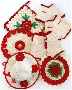 Picture of Vintage Redwork Potholders Crochet Pattern Vintage Potholders, Crochet Potholders, Potholder Patterns, Vintage Crochet Patterns, Quilt Batting, Crochet Kitchen, Flower Hats, Cotton Quilts, Hot Pads