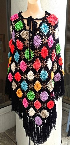 70's Handmade Crocheted Tie Front Poncho - with a less hideous, more muted color scheme