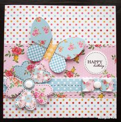 Card using Kitsch Paper Artistry kit. Double sided Kitsch papers and Kitsch die cuts.