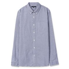 Topten10 Unisex Modern Blue Checks Formal Oxford Buttondown Cotton Dress Shirts #Topten10