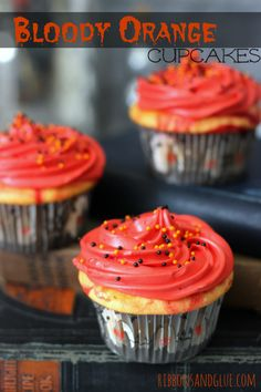Easy Bloody Orange Cupcakes made with Sunkist® soda and a yellow cake ...