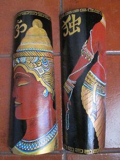 Telhas , Deusas pintadas em acrilico