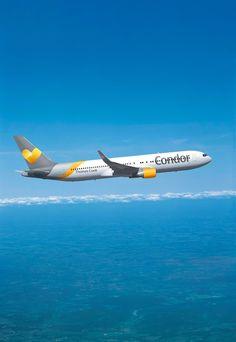 Die Boeing 767-300 im Sunny Heart-Design. Download und weitere Bilder unter: http://www.condor.com/de/unternehmen/condor-newsroom/download.jsp