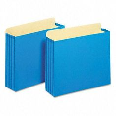 """3 1/2 Inch Expansion File Cabinet Pockets Straight Letter Blue 10/Box by Globe Weis. $27.78. Unique file pocket design has a raised gusset height so that the gussets ride along the file cabinet rails. This eliminates tearing and damage caused by removing file pockets with low gussets. 9 1/2"""" high gussets are reinforced with rip-proof Tyvek® strips along the top and bottom corners. Extra-thick 22 pt. outer panels for added durability. Full tabs. Expandable File Folder..."""