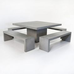 Square Concrete Table and Bench Set Comprised of four Modern Raw Concrete Benches with the Raw Concrete Square Dining Table, this set easily seats 12 – 16 people! Concrete Outdoor Furniture, Concrete Stool, Concrete Dining Table, Timber Table, Concrete Crafts, Concrete Design, Patio Furniture Sets, Furniture Ideas, Concrete Garden