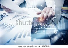 Risk Management Work process.Photo Trader working Market Report Documents Touching Screen Tablet.Using Graphic Icons,Stock Exchanges Reports. Business Project Startup. Horizontal, Flares Effect.