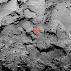 This image of comet 67P/Churyumov-Gerasimenko marks the first touchdown point of the Philae lander of the European Space Agency's Rosetta mission. The image was taken by on Sept. 14, 2104, nearly two months before Philae's Nov. 12 landing.