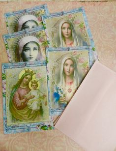 Religious Note Cards  Catholic Note Cards Flat Note Cards Virgin Mary  Blessed Mother Set 5 Blank Cards