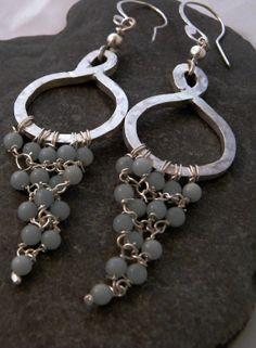 Amazonite 925 Silver Hoop Chandelier Dangle Earrings