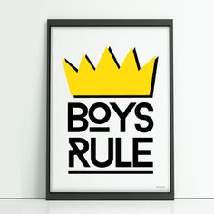 The Boys Rule print is a bold and modern design perfect for any childs room.   Available in A4, A3 and printed on beautiful silk matt card.  Print only.