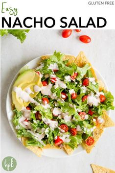 Need a super fast dinner option that incorporates veggies? Try this Easy Nacho Salad. It's a layered recipe with tortilla chips on the bottom, covered with ground beef and cheese, then lettuce and tomatoes on top. Finish it off with some slices of avocado and a sour cream and salsa dressing and you're good to go!