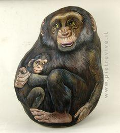 Chimp painted rock