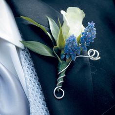 Groom boutonniere- white lisianthus and grape hyacinth (would match bouquet) **Corsages are typically a larger version of the boutonnieres chosen, please choose whether you want wrist or pin on corsages) Corsage And Boutonniere, Groom Boutonniere, Boutonnieres, White Boutonniere, Blue Wedding, Floral Wedding, Wedding Bouquets, Wedding Day, Trendy Wedding