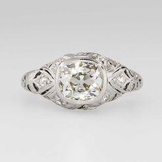 Incredible Rare 1.58ct t.w. Old European Cushion Cut Diamond Engagement Ring Platinum
