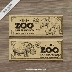 Retro zoo tickets with hand drawn elephant and hippotamus Free Vector Zoo Tickets, San Francisco Design, Ticket Design, 2nd Birthday, Birthday Parties, Retro, High Quality Images, Hand Drawn, Vector Free
