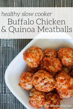 Healthy Slow Cooker Buffalo Chicken Quinoa Meatballs