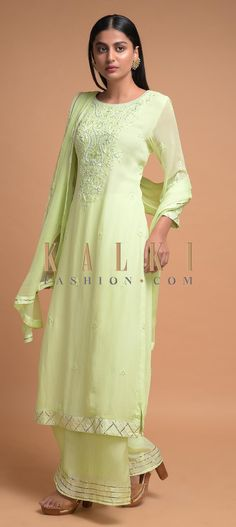 Buy Online from the link below. We ship worldwide (Free Shipping over US$100)  Click Anywhere to Tag Powder Green Palazzo Suit In Georgette With Thread And Pearls Embroidery Online - Kalki Fashion Powder green palazzo suit in georgette with thread, beads and pearls embroidered yoke and buttis.Designed with round neckline and 3/4th sleeves.