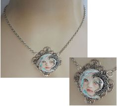 Moon Fairy Face Pendant Necklace Jewelry Handmade NEW Sculpted NEW Clay Silver #Handmade #Pendant https://www.ebay.com/itm/152832316957