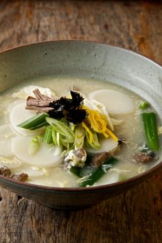 For the Lunar New Year ~ Traditional Korean Rice Cake Soup (Tteok Guk) with brisket, green onion, egg, and seaweed garnish.