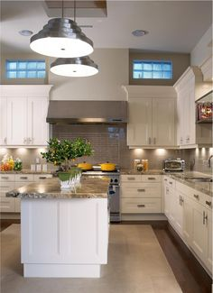 Cozy Transitional Kitchen. Like total look...need some glass frosted upper stainless cabinets.