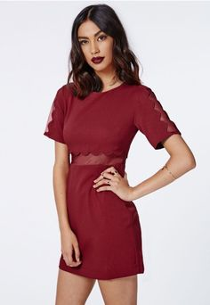 Verity Crepe Scallop Shift Dress in Burgundy - Dresses - Shift Dresses - Missguided