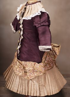 Antique Original Silk dress for Jumeau Bru Steiner Eden Bebe doll from respectfulbear on Ruby Lane
