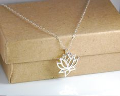 Sterling Silver Lotus Necklace Entirely Sterling by JWjewelrybox