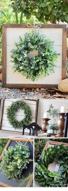 Shiplap Art & Mini Eucalyptus OR Magnolia Wreath - Small 15x15 - Reclaimed Wood - Handmade - Farmhouse - Home Decor - Custom Pieces - Spring - Fixer Upper Style - Rustic