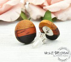 Wood earrings Ø11mm wooden post studs unisex by HolzDesignGermany