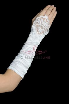 Long, fingerless gloves with sides slightly ruched and a lacy embroidered end. Birthday Dresses, Girls Accessories, Fingerless Gloves, Fashion, Fingerless Mitts, Moda, Fingerless Mittens, Fashion Styles, Fasion