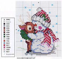 Bonhomme de neige avec petit renne - points comptés