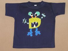 Personalized Monster Using Child's First Initial on Navy Shirt. $35.00, via Etsy.