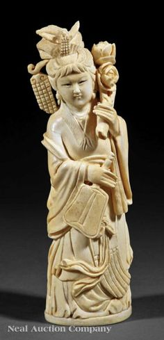 A Chinese Ivory Figure of a Beauty