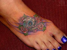 Sugar skull foot tattoo. I want!!!