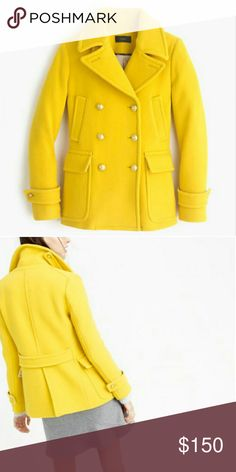 NWT J Crew Majesty peacoat wool coat, T4 New with tag J Crew Majesty Peacoat wool coat jacket Color: Golden Sun Size: Tall 4   A timeless peacoat (we've been designing this silhouette since 2011), crafted in cozy stadium-cloth fabric that's made especially for us by Italy's famed Nello Gori mill. Inspired by the fabric used in old-school stadium blankets, it adds warmth without the bulk. This year, we updated it with slightly wider lapels and welt pockets, so it's even more perfect…