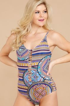1bf474a9b0e51 Trendy Multi Print One Piece - Cute One Piece - Swimwear - $42.00 – Red  Dress