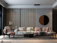Living Room Wall Designs, Feature Wall Living Room, Living Room Sofa, Home Living Room, Living Room Decor, Interior Rendering, Luxury Interior Design, Room Interior, Credenza